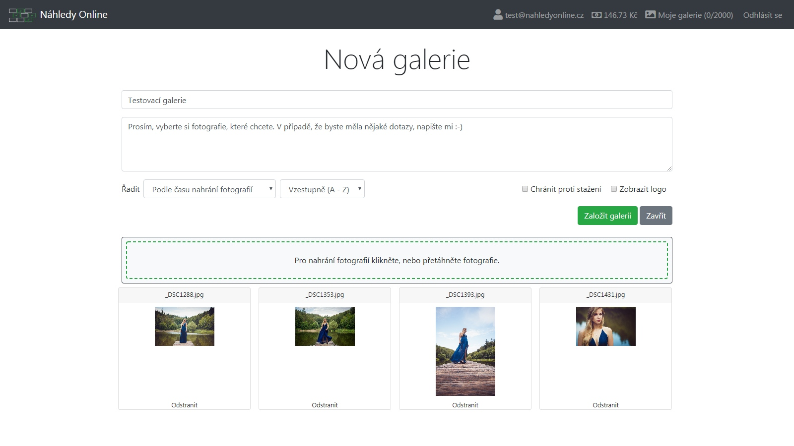 Vytvořte si galerii, doplňte popis pro Vašeho klienta a nahrajte fotografie.